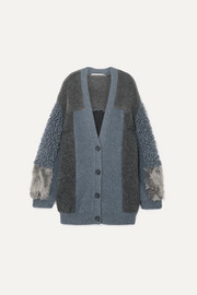 Stella McCartney Oversized patchwork faux shearling cardigan