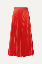 Stella McCartney Pleated satin midi skirt