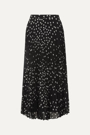 Stella McCartney Polka-dot plissé-georgette midi skirt