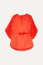 Stella McCartney Tie-detailed pleated satin top