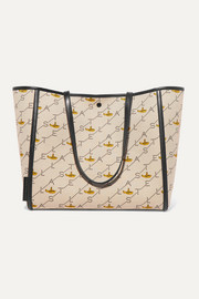 Stella McCartney Faux leather-trimmed printed canvas tote
