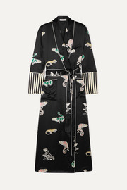Capability printed silk-satin robe