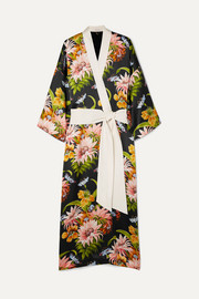 Queenie floral-print silk-satin robe