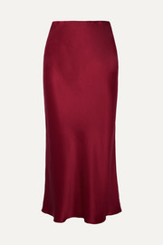 Isla silk-satin midi skirt