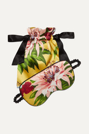 Havana reversible floral-print silk-satin eye mask