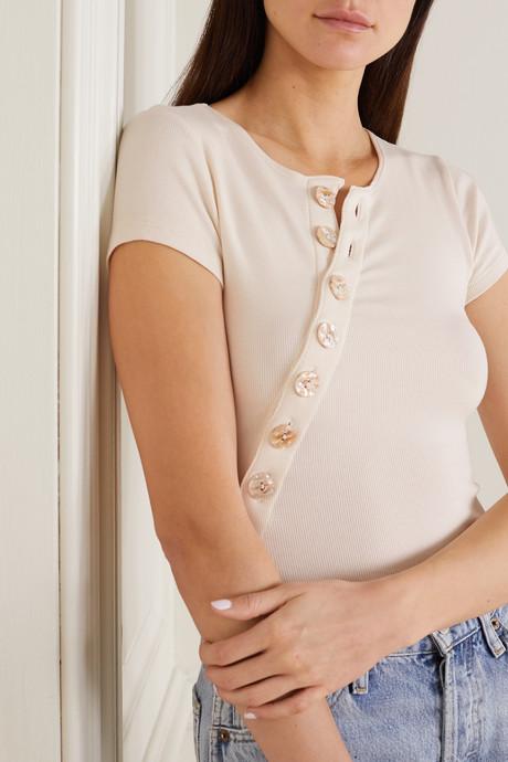Kym button-embellished ribbed stretch cotton-jersey bodysuit