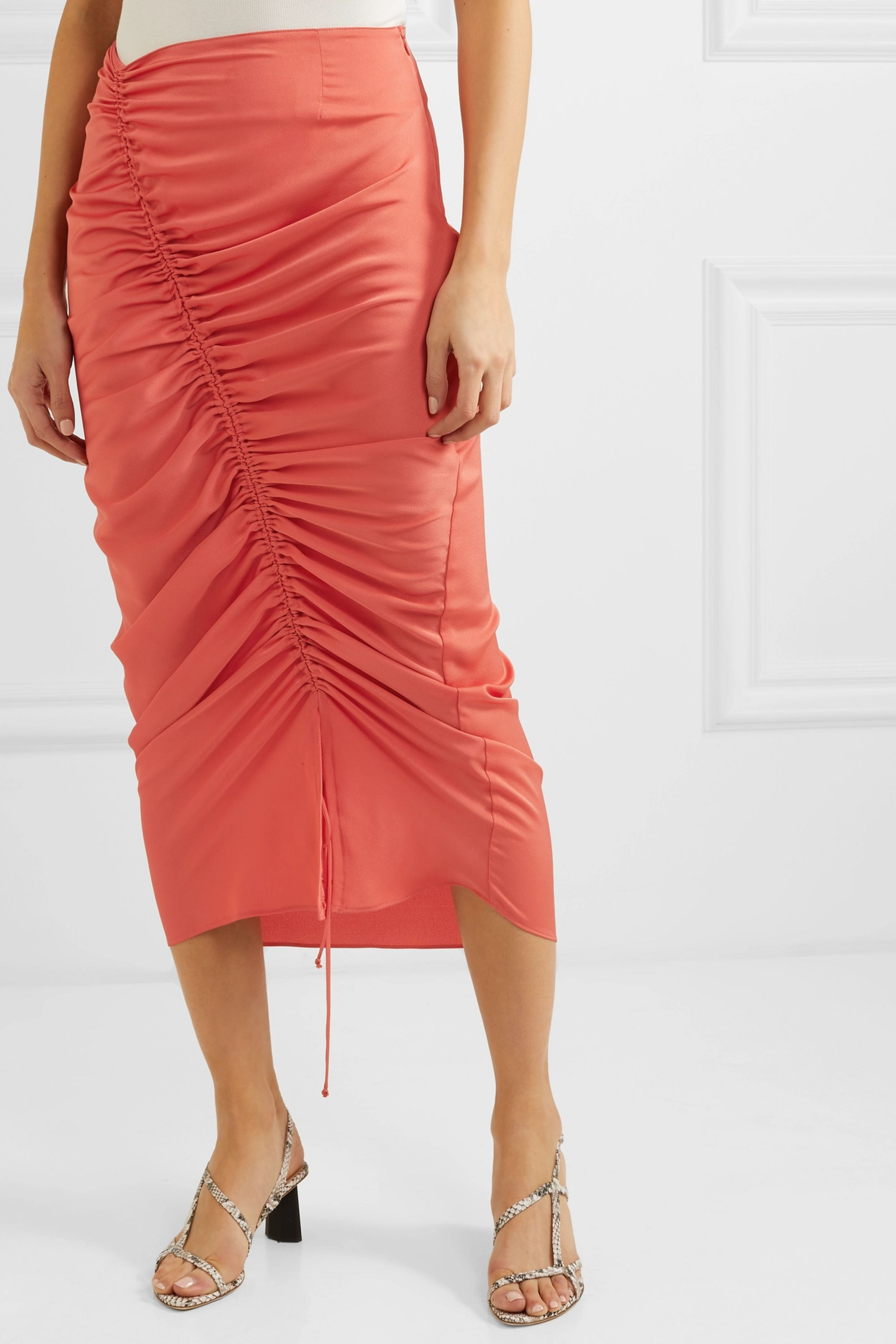The Line By K Sisilia ruched hammered-satin skirt