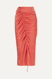 Sisilia ruched hammered-satin skirt
