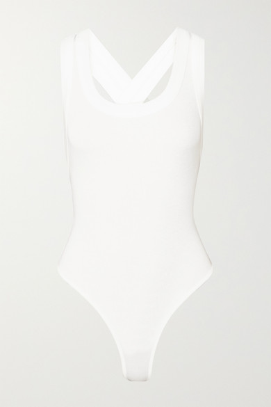 Suki Ribbed Stretch Cotton Jersey Thong Bodysuit by The Line By K