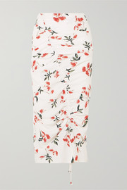 The Line By K Sisilia ruched floral-print crepe de chine midi skirt