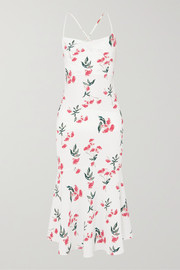 The Line By K Robi tie-detailed floral-print crepe de chine dress