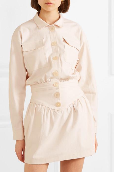 Theo stretch-cotton twill mini dress