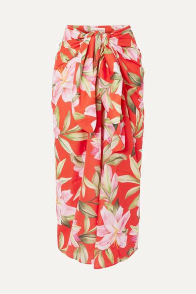 Mara Hoffman Beachwear + NET SUSTAIN Izzi floral-print organic cotton-voile midi skirt