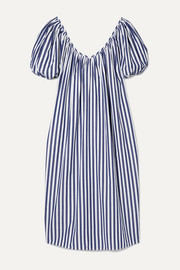 + NET SUSTAIN Romina oversized striped organic cotton midi dress