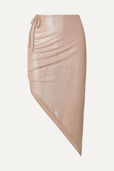 ADRIANA DEGREAS | Adriana Degreas - Martini Asymmetric Ruched Ribbed Lamé Skirt - Metallic | Goxip