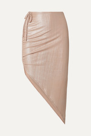 Adriana Degreas Martini asymmetric ruched ribbed lamé skirt