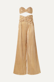 Adriana Degreas Soleil plissé-lamé bandeau top and wide-leg pants set