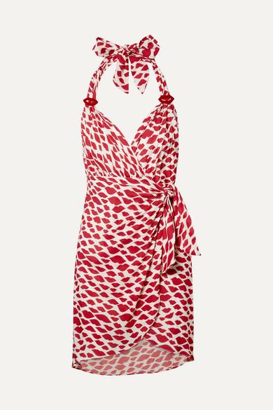 ADRIANA DEGREAS | Adriana Degreas - Bacio Printed Voile Halterneck Mini Wrap Dress - Red | Goxip