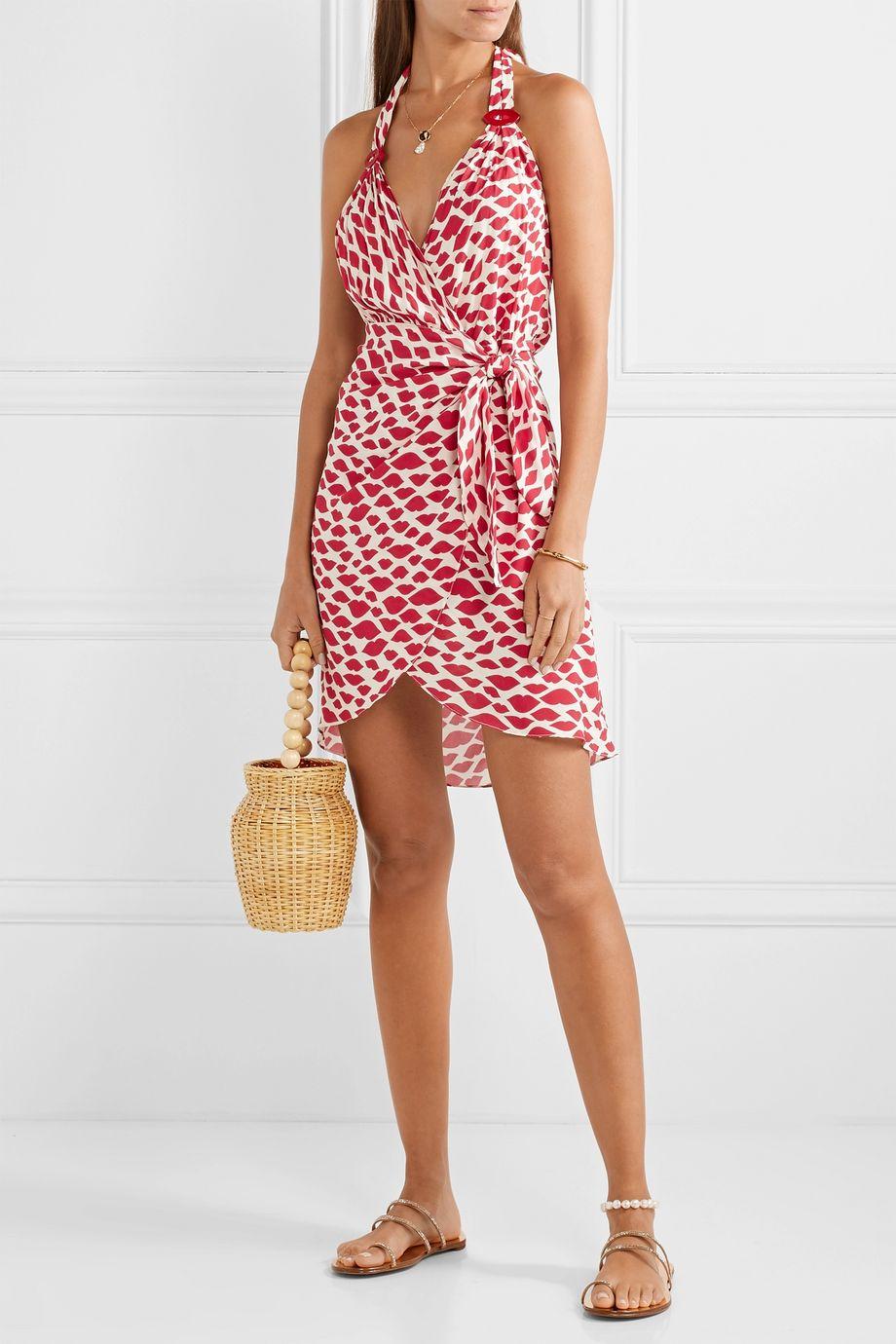 Adriana Degreas Bacio printed voile halterneck mini wrap dress