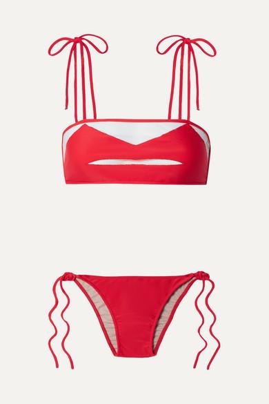 ADRIANA DEGREAS | Adriana Degreas - Bacio Tulle-Paneled Bikini - Red | Goxip