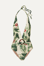 1cbca18f36 Adriana Degreas + Cult Gaia ring-embellished printed halterneck swimsuit
