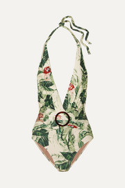 Adriana Degreas + Cult Gaia ring-embellished printed halterneck swimsuit