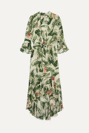 Adriana Degreas Ruffled printed silk crepe de chine maxi dress