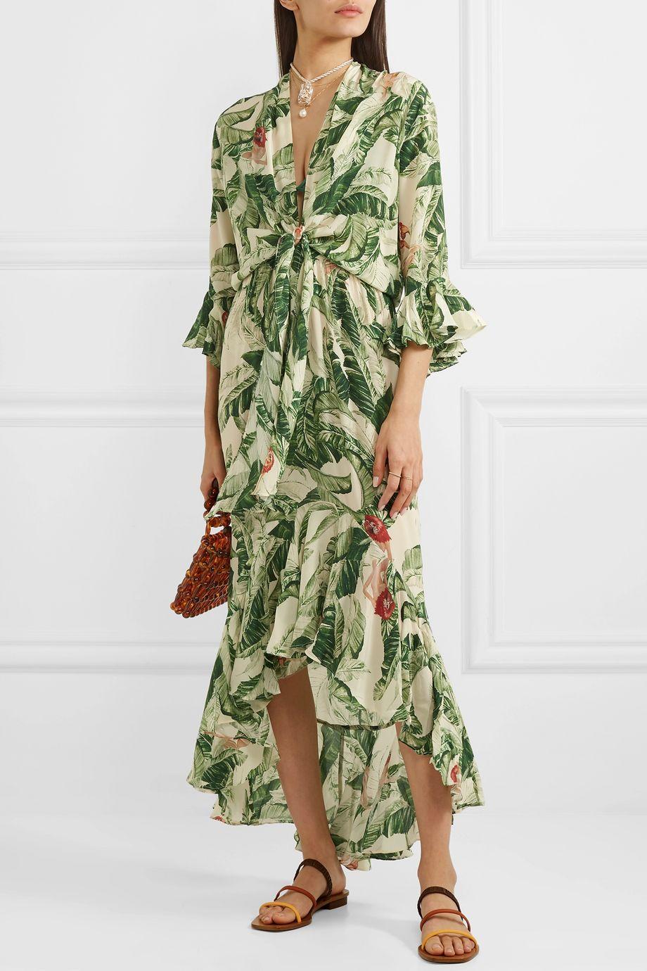 Adriana Degreas Ruffled printed silk crepe de chine maxi dress