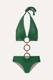 Adriana Degreas + Cult Gaia ring-embellished cutout halterneck swimsuit