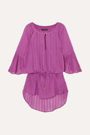 ViX Tulip ruffled striped cotton-gauze tunic