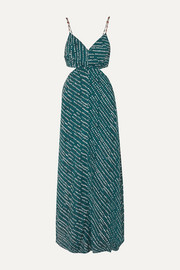 ViX Ventana Ocean cutout printed voile maxi dress