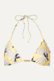 ViX Lily embellished printed triangle bikini top