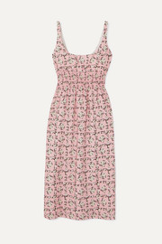Shirred floral-print crepe de chine midi dress