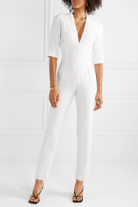 Cropped pleated wool-crepe jumpsuit