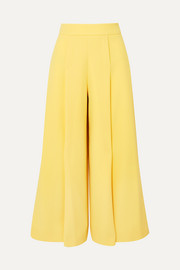 Pleated wool-crepe wide-leg pants