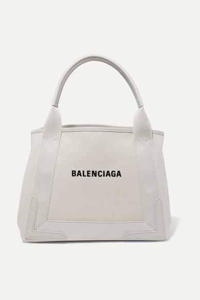 BALENCIAGA | Balenciaga - Cabas Small Leather-Trimmed Canvas Tote - Beige | Goxip