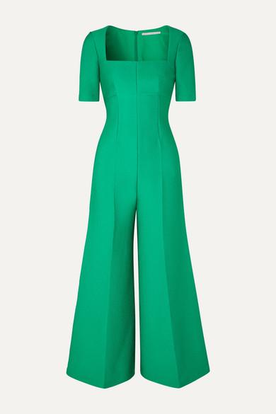 Cloqué Jumpsuit In Emerald