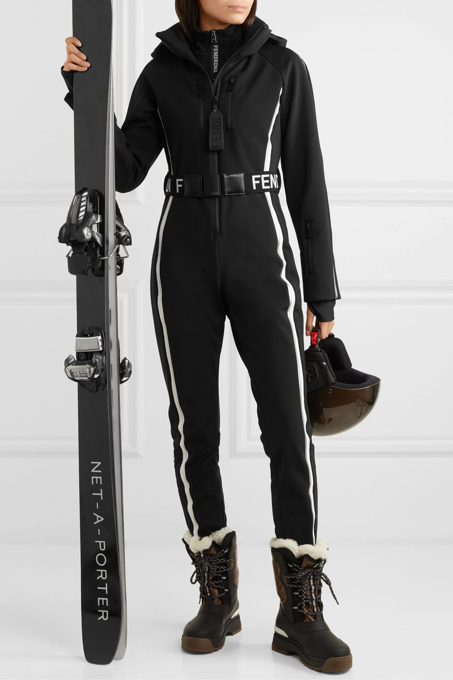 Fendi Belted striped ski suit