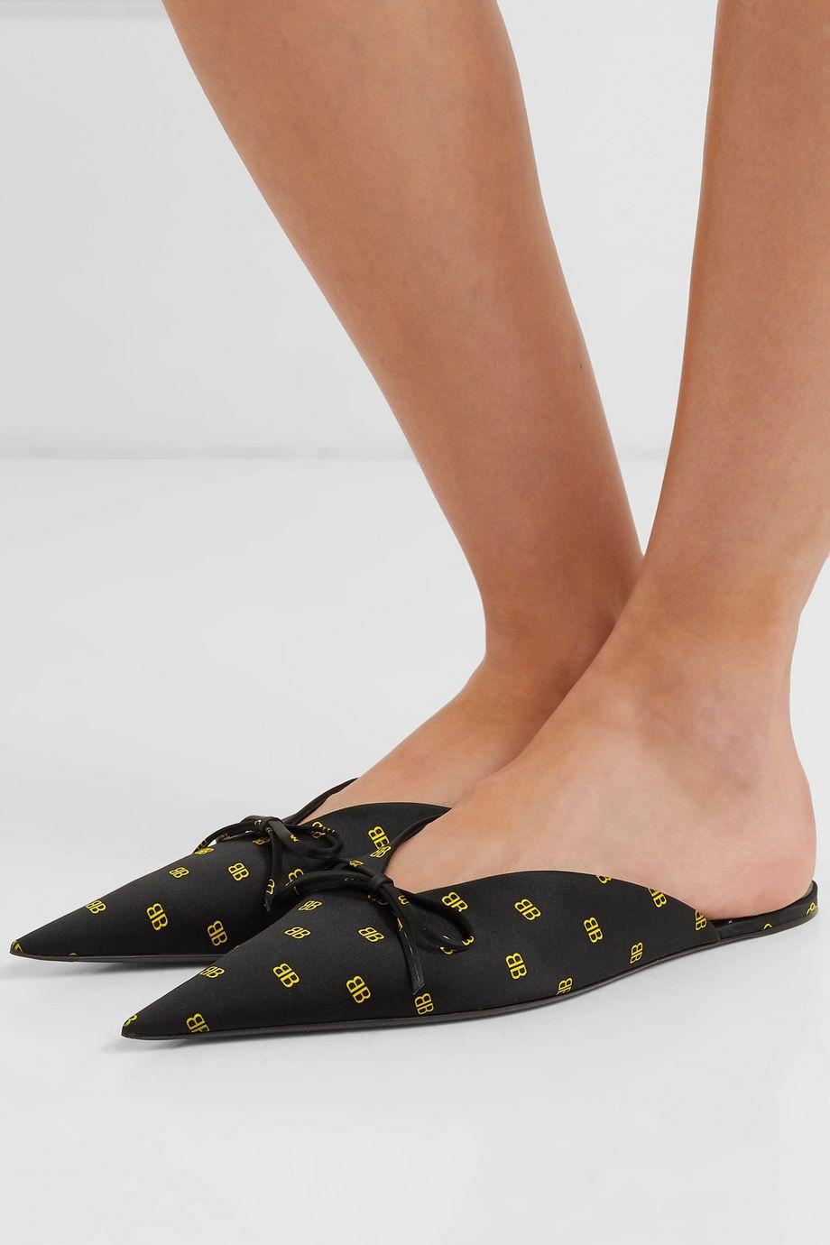 Balenciaga Knife logo-print satin slippers