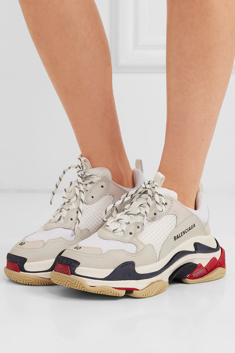 Triple S logo-embroidered leather, nubuck and mesh sneakers