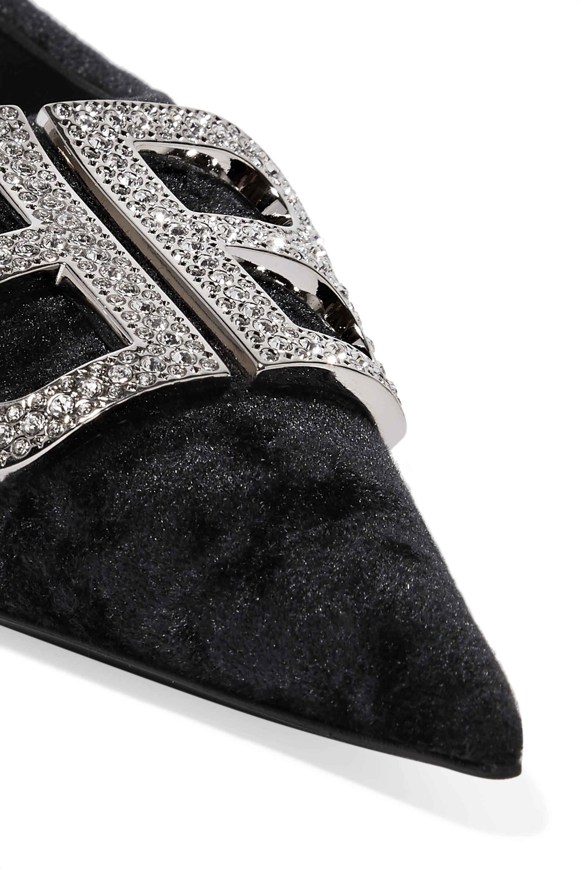 Balenciaga Knife 品牌标志缀饰压皱天鹅绒尖头平底鞋
