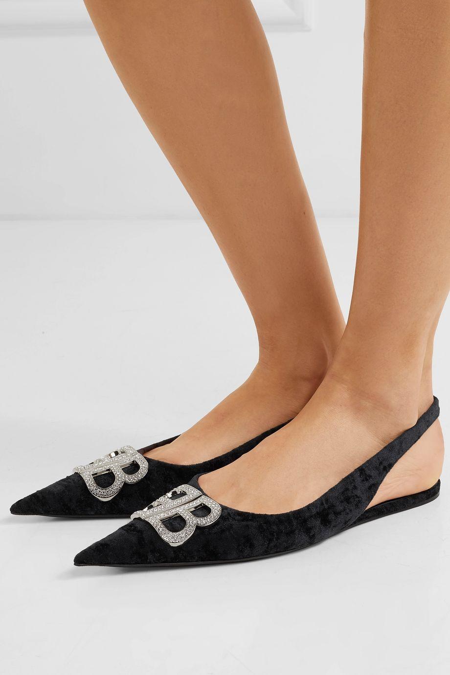 Balenciaga Knife logo-embellished crushed-velvet point-toe flats