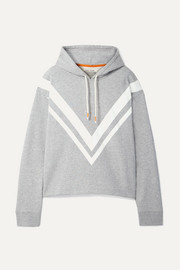 Tory Sport Striped French cotton-terry hoodie