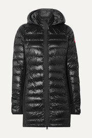 Hybridge hooded stretch-jersey and quilted shell down coat