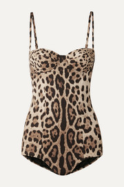 Dolce & Gabbana Cutout leopard-print underwired swimsuit
