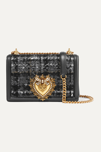 Devotion Embellished Metallic Checked Bouclé Tweed And Leather Shoulder Bag by Dolce & Gabbana