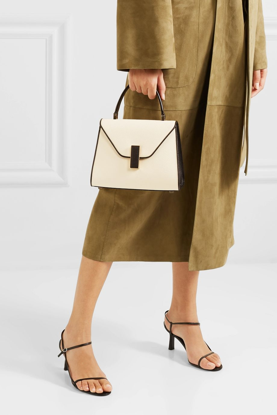 Valextra Iside mini two-tone textured-leather shoulder bag