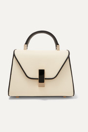 Iside micro two-tone textured-leather tote
