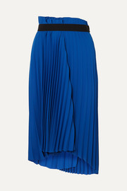 Balenciaga Asymmetric pleated midi crepe skirt