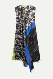 Balenciaga Asymmetric paneled printed twill dress